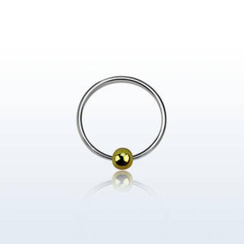 Серебро пирсинг В нос кольцо диаметр 8мм. без вставок золочение ns05gb