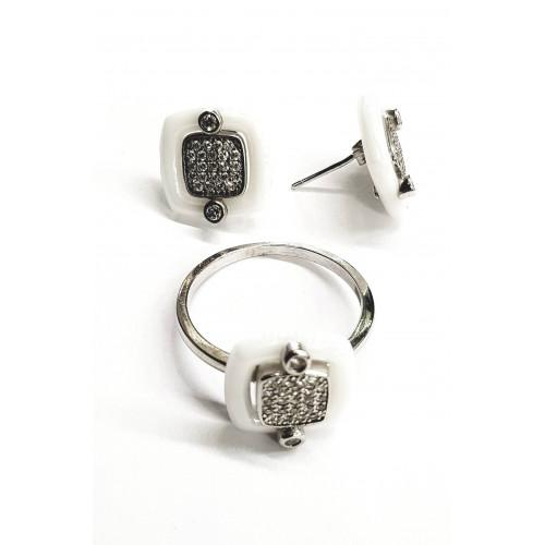 Серебро комплект 8,6г керамика родий 91976 Италия 19(р)