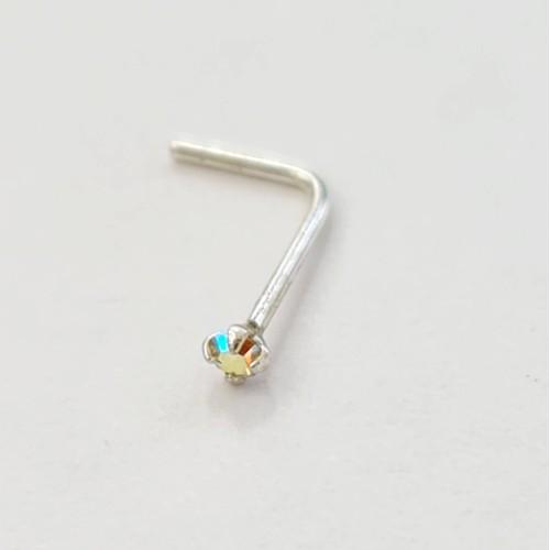 Серебро пирсинг В нос фианит 92511