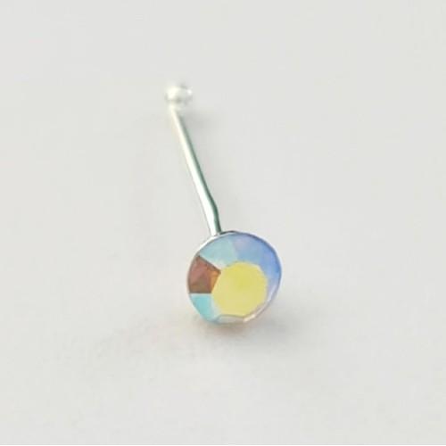 Серебро пирсинг В нос фианит родий 92704