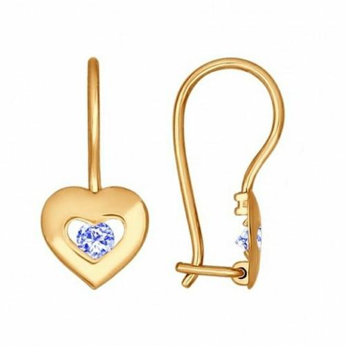 Золото серьги детские фианит 027227 Россия Cоколов
