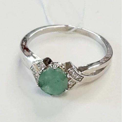 Серебро кольцо изумруд родий 00942 Россия Теоса 16,5(р)