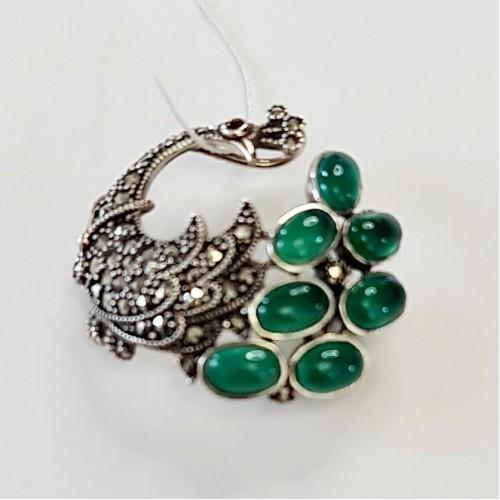 Серебро брошь зелёный агат,марказит оксид 604gr Россия Теоса