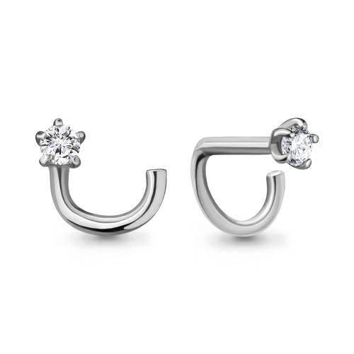Серебро пирсинг В нос 0,13г фианит родий 75553а.5 Россия Аквамарин