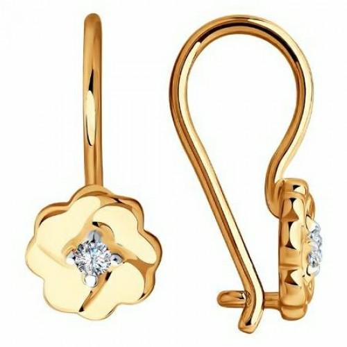 Золото серьги детские фианит 028532 Россия Cоколов